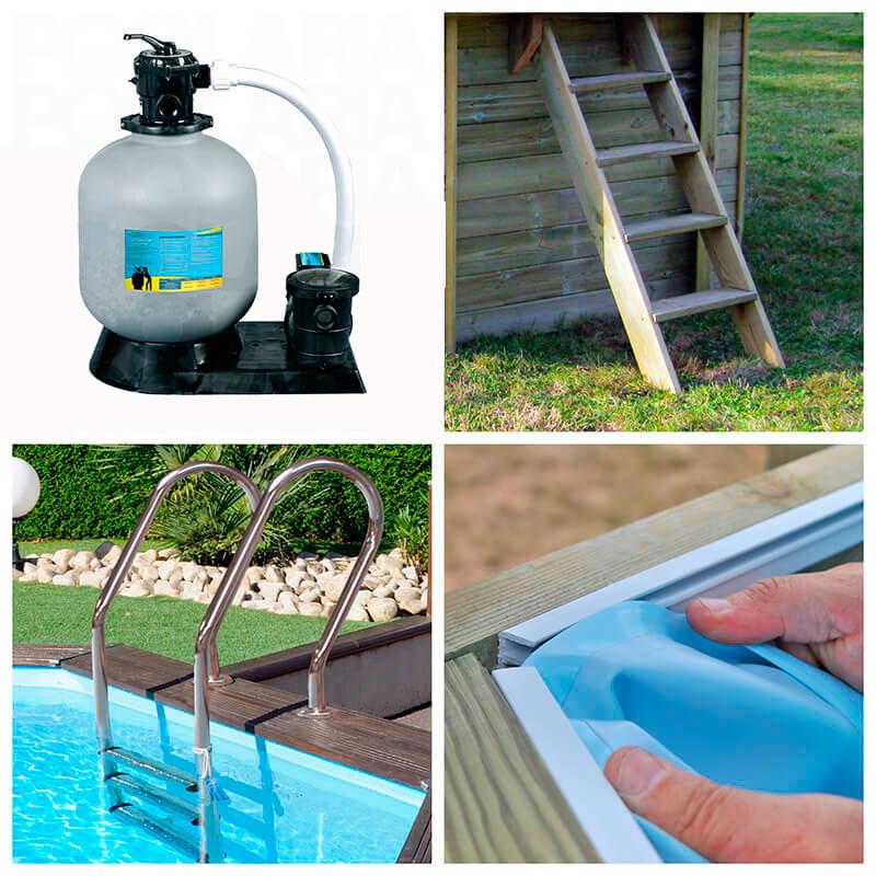 Piscina de madera cuadrada gre carra 300x300x119 outlet for Outlet piscinas