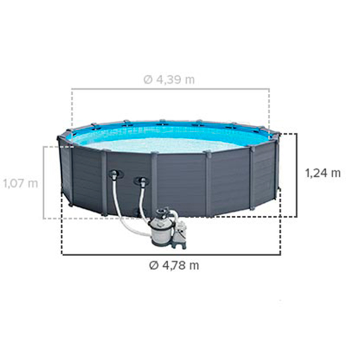 Piscina intex graphite panel 478x124cm outlet piscinas for Piscine intex graphite