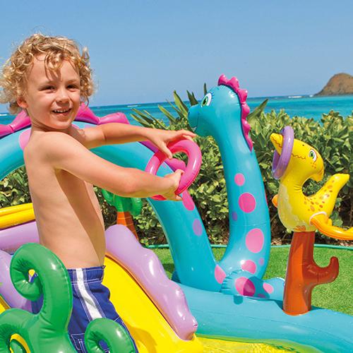 Piscina tobog n dinosaurio intex outlet piscinas for Parches para piscinas intex