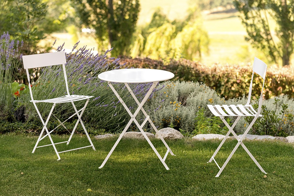 Set tea time de mesa y sillas plegables outlet piscinas for Outlet muebles jardin